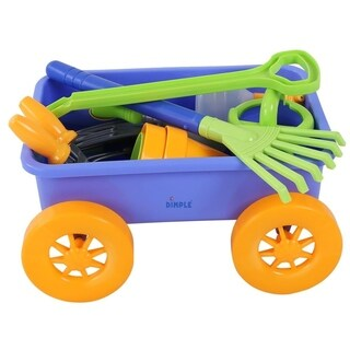 Dimple DC12752 Premium 15-Piece Gardening Tools & Wagon Toy Set Sturdy & Durable Top Yard, Beach, Sand, Garden Toy