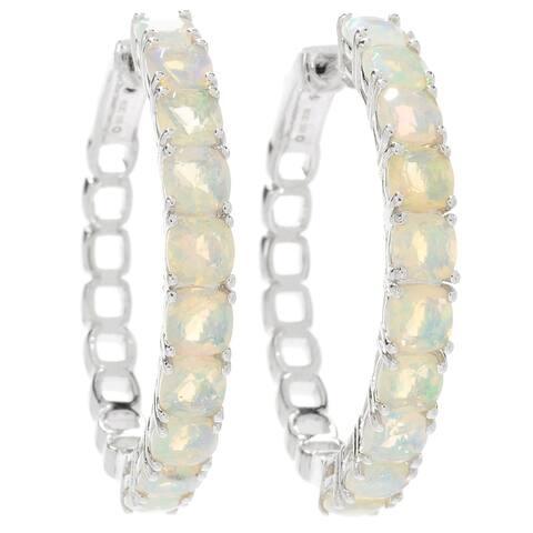"""Pinctore Sterling Silver 1.25"""" Ethiopian Opal Clicker Back Hoop Earrings"""