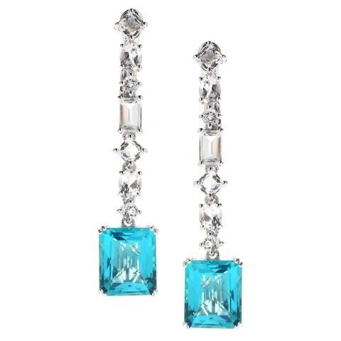 """Sterling Silver 2"""" 15.75ctw Blue Quartz & White Topaz Earrings"""