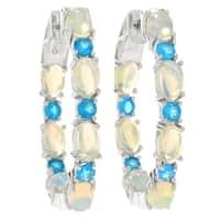 """Pinctore Sterling Silver 1.25"""" Ethiopian Opal & Neon Apatite Hoop Earrings"""