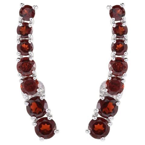 Red Garnet Polished Ear Climbers