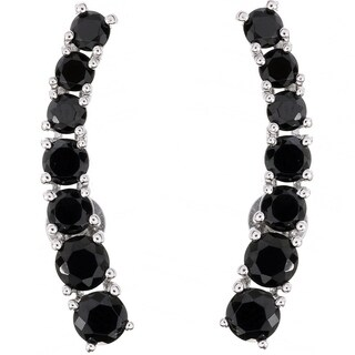 Pinctore Black Spinel Polished Ear Climbers