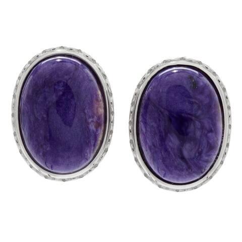 Sterling Silver 18 x 13mm Chroite Stud Earrings w/ Omega Backs