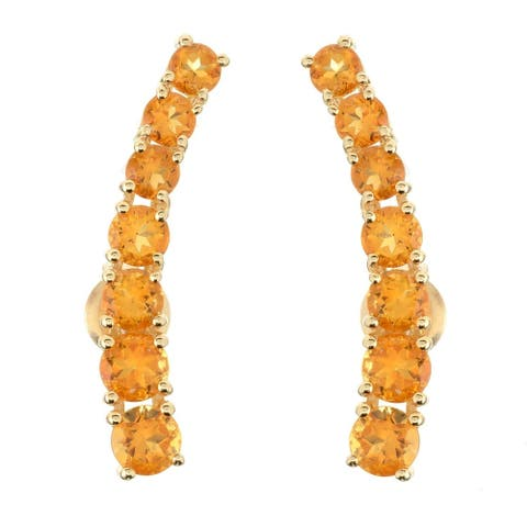 Pinctore Citrine Yellow Polished Ear Climbers