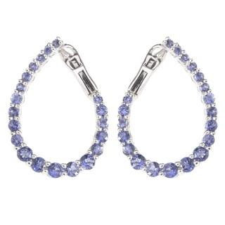 Pinctore Sterling Silver Iolite Inside-out Hoop Earrings