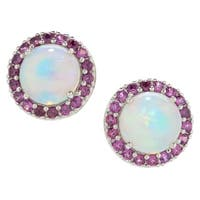 Pinctore Sterling Silver Ethiopian Opal & Rhodolite Halo Stud Earrings