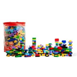 Dimple DC13990 Soft Plastic Multi Colored Building Block Set Wheeled Train Pieces Carry Bag (450 Pieces)