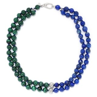 """Pinctore Sterling Silver 18"""" Malachite and Lapis Lazuli Two-Strand Beaded Necklace"""