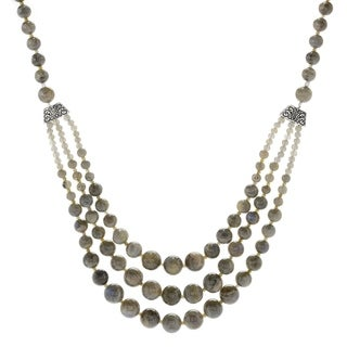 "Pinctore Sterling Silver 29"" Labradorite Beaded 3-Strand Necklace"