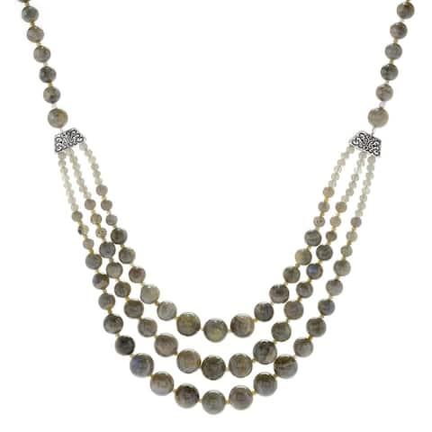 "Pinctore Sterling Silver 29"" Labradorite Beaded 3-Strand Necklace"