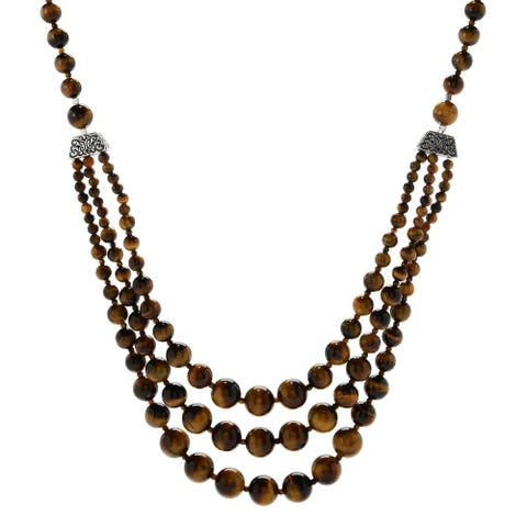 """Pinctore Sterling Silver 29"""" tiger's eye Beaded 3-Strand Necklace"""