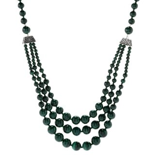 "Pinctore Sterling Silver 29"" Malachite Beaded 3-Strand Necklace"