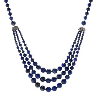 "Pinctore Sterling Silver 29"" Lapis lazuli Beaded 3-Strand Necklace"