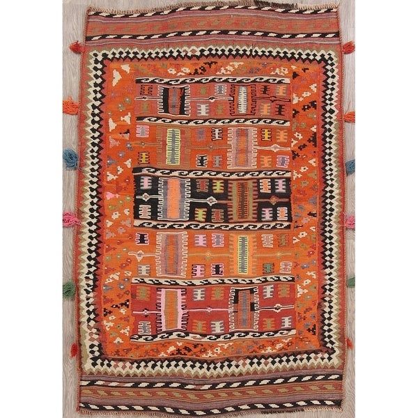 "Tribal Kilim Shiraz Persian Area Rug For Dining Room Oriental - 6'3"" x 4'5"""