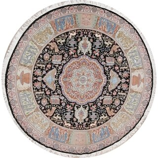 Floral Animal Pictorial Tabriz Persian 10ft Round Dining Room Area Rug - 9' 8 x 9' 8