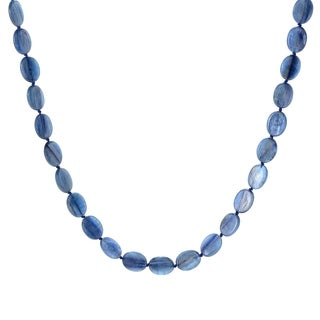 """Pinctore Sterling Silver 36"""" 20 x 15mm Oval Kyanite Beaded Necklace"""