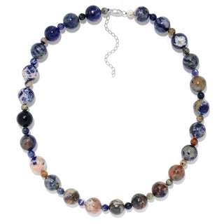 """Pinctore Sterling Silver 20"""" Sodalite Beaded Necklace w/ 3"""" Extender"""