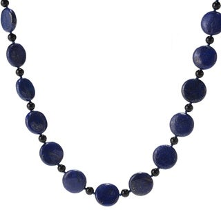 """Pinctore 28"""" 18mm Coin Shaped Lapis & Onyx Beaded Endless Necklace"""
