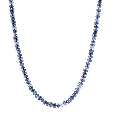 "Pinctore 35"" Blue Moonstone Endless Beaded Necklace"