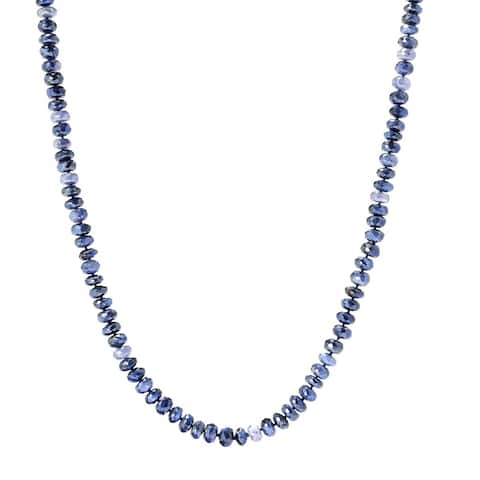 """35"""" Blue Moonstone Endless Beaded Necklace"""