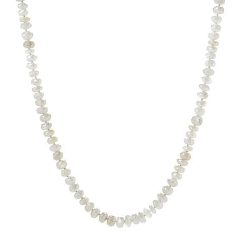 "35"" White Moonstone Endless Beaded Necklace"