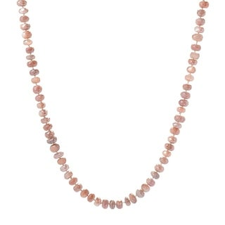 """Pinctore 35"""" Peach Moonstone Endless Beaded Necklace"""