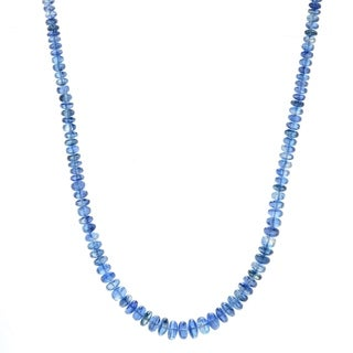 """Pinctore Sterling Silver 18"""" Kyanite Graduated Beaded Necklace"""