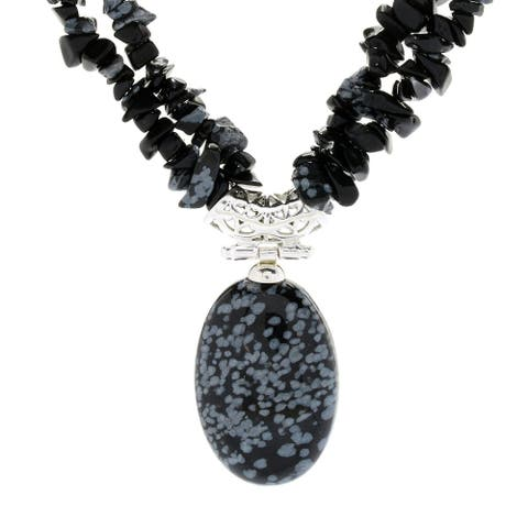 """Sterling Silver 17.5"""" 30 x 20mm Oval Snowflake Obsidian 2-Strand Necklace"""