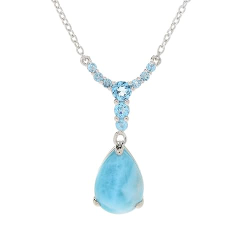 "Pinctore Sterling Silver 18"" Larimar & Swiss Blue Topaz Drop Necklace"