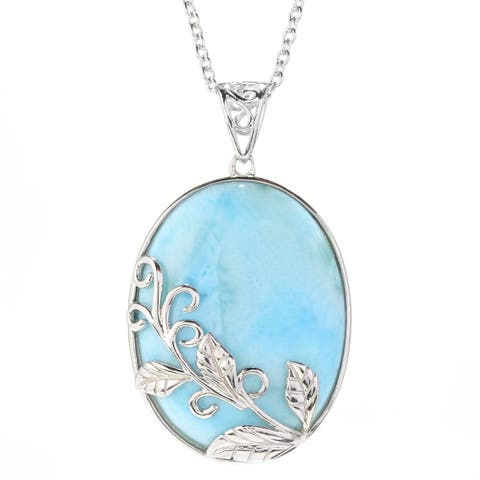 """Pinctore Sterling Silver 29 x 22mm Oval Larimar Flower Overlay Pendant w/ 18"""" Chain"""