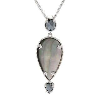 "Pinctore Sterling Silver Shell & Hematite Enhancer Pendant w/ 20"" Chain"