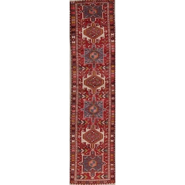 """Hand Knotted Antique Geometric Gharajeh Persian Woolen Rug - 10'10"""" x 2'5"""" runner"""