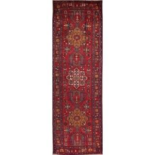 "Handmade Antique Geometric Tribal Heriz serapi Persian Wool Rug - 12'10"" x 3'5"" runner"