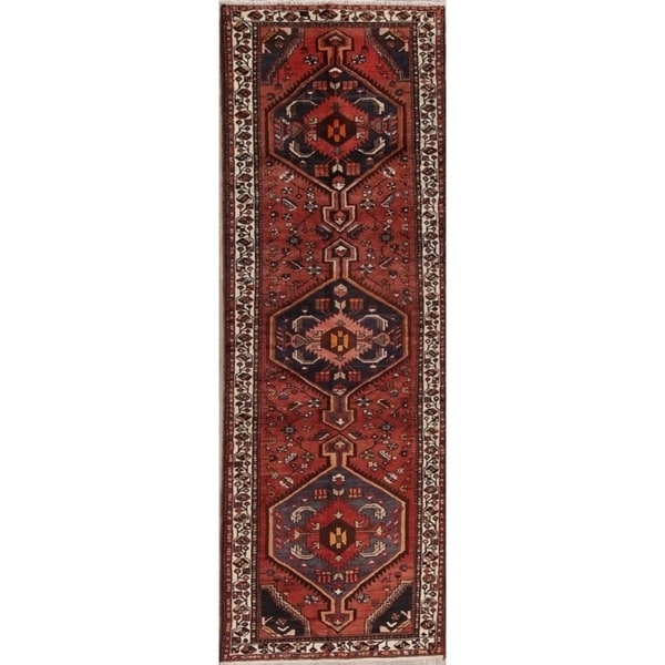 "Hand Knotted Rust Tribal Geometric Bakhtiari Persian Wool Rug - 10'8"" x 3'5"" runner"