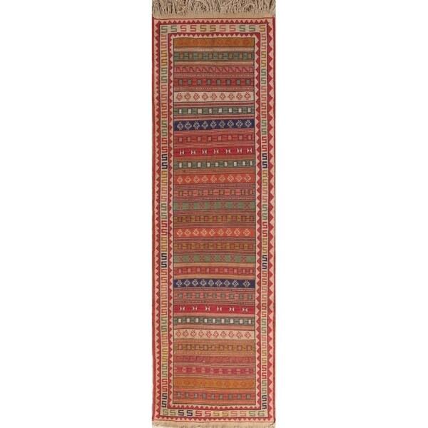 "Handmade Wool Geometric Modern Kilim Sumak Persian Rug - 9'4"" x 2'8"" runner"