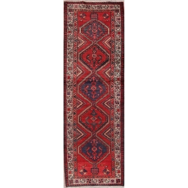 "Vintage Handmade Wool Red Geometric Meshkin Persian Rug - 10'2"" x 3'5"" runner"