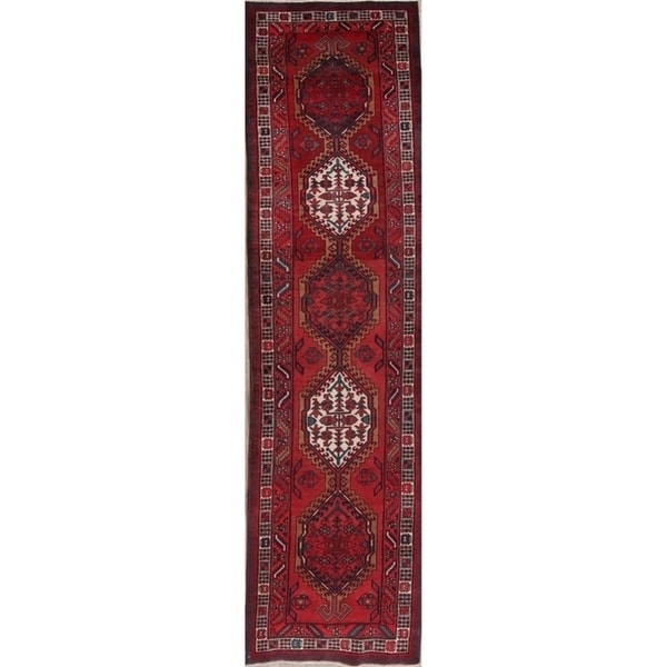 "Vintage Handmade Wool Red Geometric Meshkin Persian Rug - 12'1"" x 3'1"" runner"