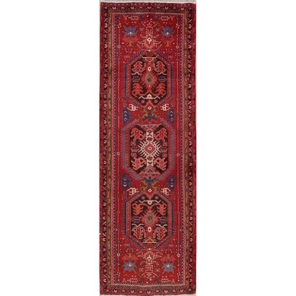 "Hand Knotted Vintage Geometric Heriz Persian Wool Rug - 10'8"" x 3'6"" runner"