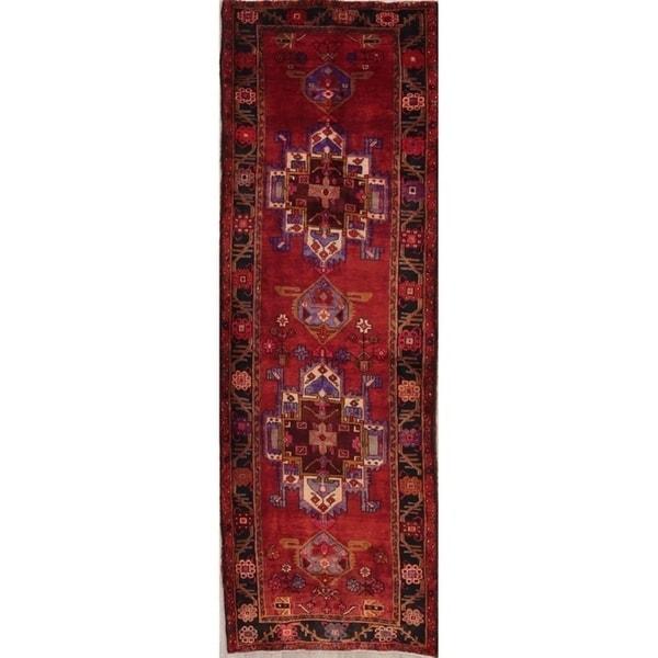 """Handmade Red Geometric Tribal Heriz Persian Vintage Woolen Rug - 11'0"""" x 3'8"""" runner"""