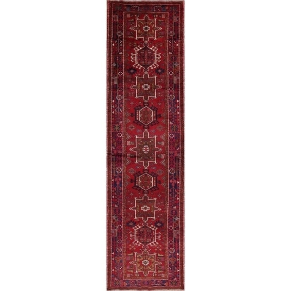 "Copper Grove Liberec Hand-knotted Geometric Tribal Gharajeh Persian Wool Heirloom Item Area Rug - 14'4"" x 3'10"" runner"