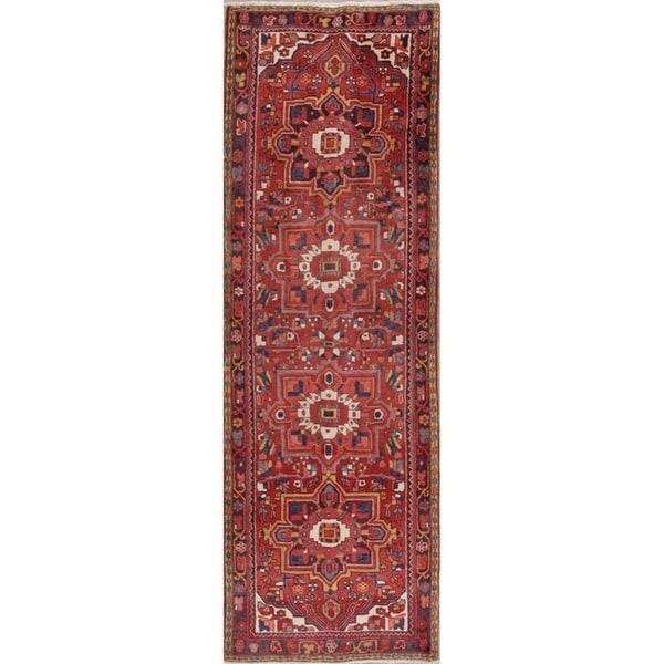 "Hand Knotted Geometric Heriz Persian 100% Wool Rug - 11'0"" x 3'8"" runner"