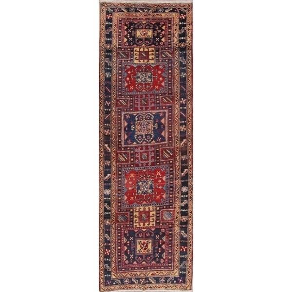 "Hand Knotted Geometric Heriz Vintage Persian Woolen Rug - 10'11"" x 3'7"" runner"