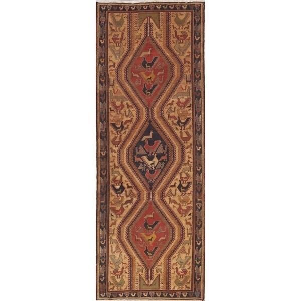 "Hand Woven Woolen Animals Tribal Nomad Sumak Sirjan Persian Rug - 10'0"" x 3'7"" runner"