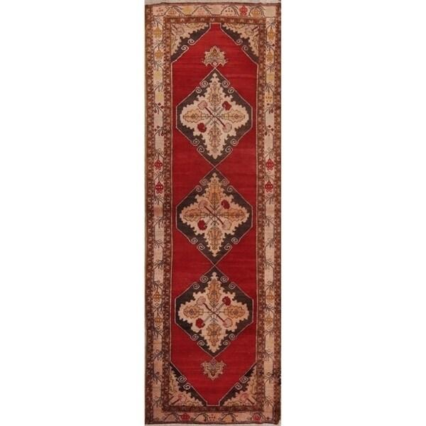 """Semi-Antique Handmade Floral Yahyali Turkish Oriental Rug - 10'10"""" x 3'6"""" runner"""
