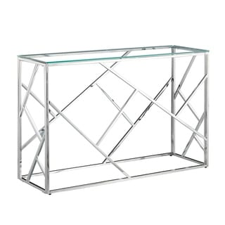 Porthos Home Zeke Glam Console Table, Glass Top, Stainless Steel Frame