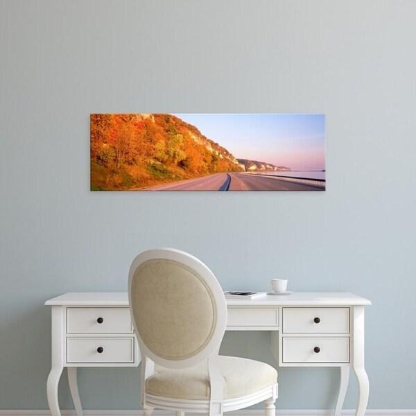 Easy Art Prints Panoramic Images's 'Road along a river, Great River Road, Alton, Illinois, USA' Premium Canvas Art