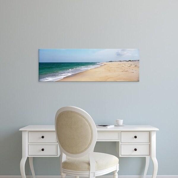 Easy Art Prints Panoramic Images's 'USA, North Carolina, Cape Hatteras, Waves crashing on the beach' Premium Canvas Art