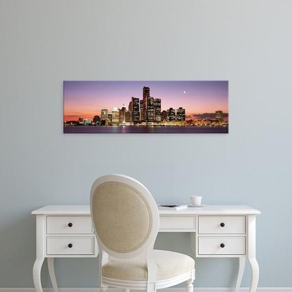 Easy Art Prints Panoramic Images's 'Night Skyline Detroit MI' Premium Canvas Art