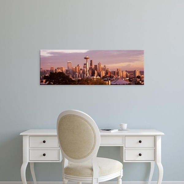 Easy Art Prints Panoramic Images's 'City viewed from Queen Anne Hill, Space Needle, Seattle, King, Washington State' Canvas Art