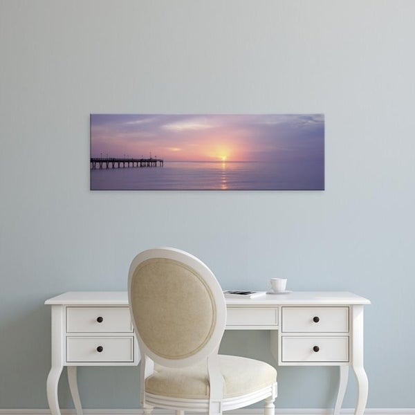Easy Art Prints Panoramic Images's 'Pier in the ocean at sunset, Caspersen Beach, Sarasota County, Venice, Florida' Canvas Art